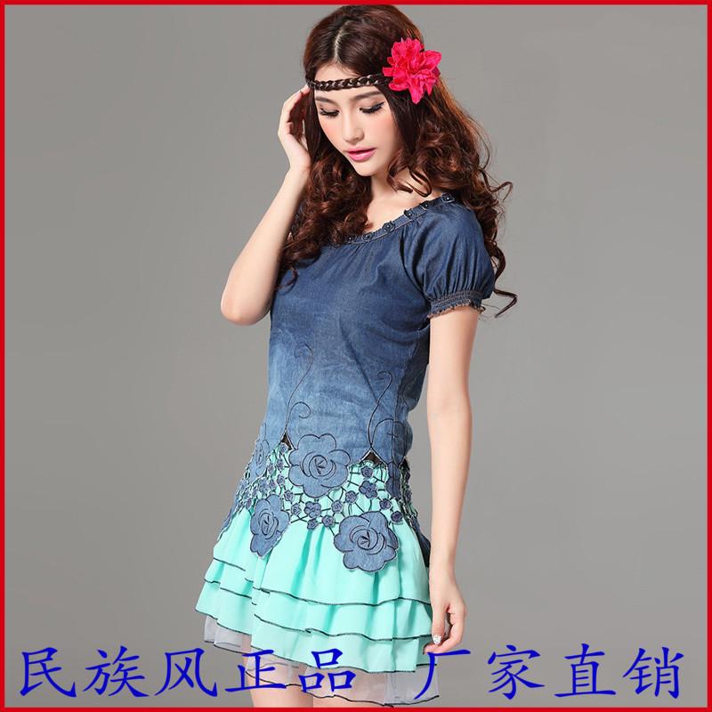 2014夏季甜美洛丽塔绣花花公主牛仔新款裙子打底女