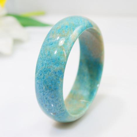 天然珊瑚玉手镯菊花玉镯子天蓝色花纹