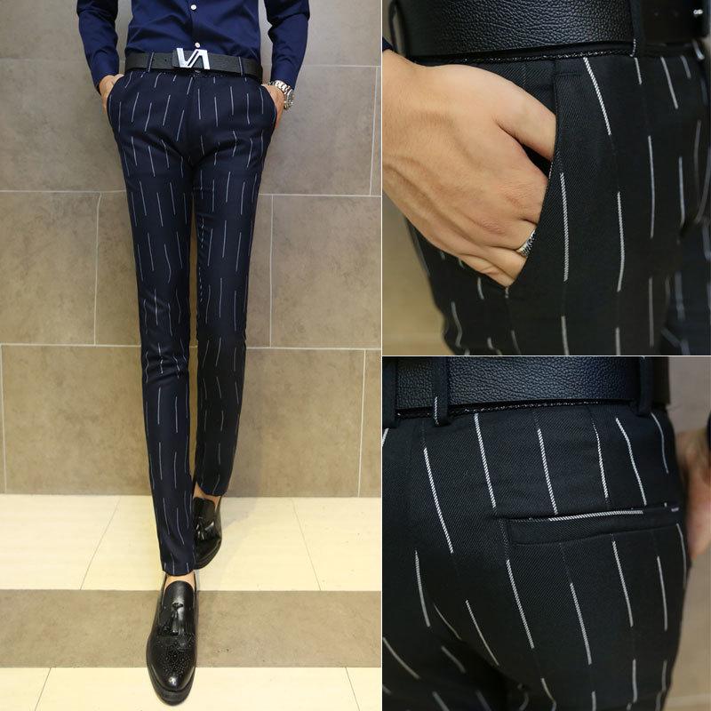 韩版条纹裤子商务西装男裤潮