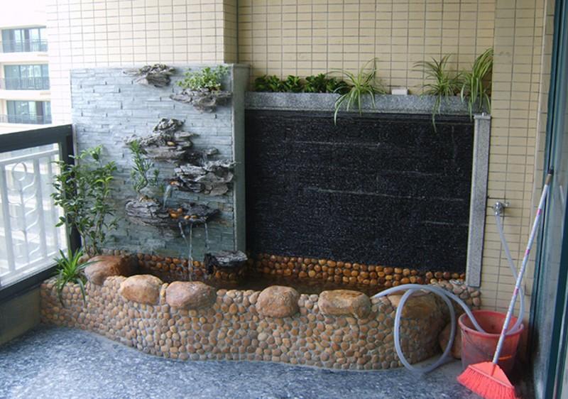 阳台装修摆件设 流水 水喷泉水幕墙