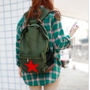 茜茜】纯棉帆布包 双肩包背包黑色军绿色 学生书包后背包 简单单肩图片
