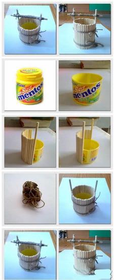 棍子搭建制作花盆步骤图