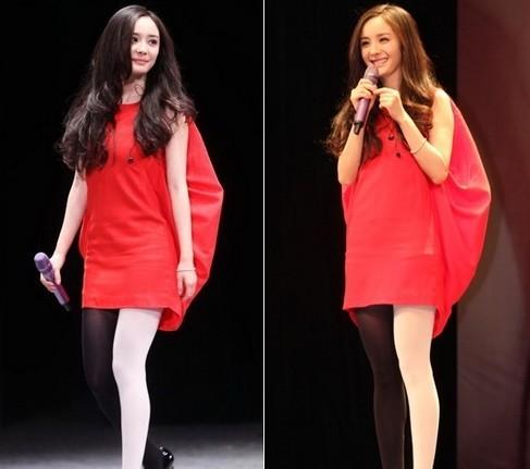 穿的红色宽松裙,后背的蓬蓬感带来几分小女生的可爱