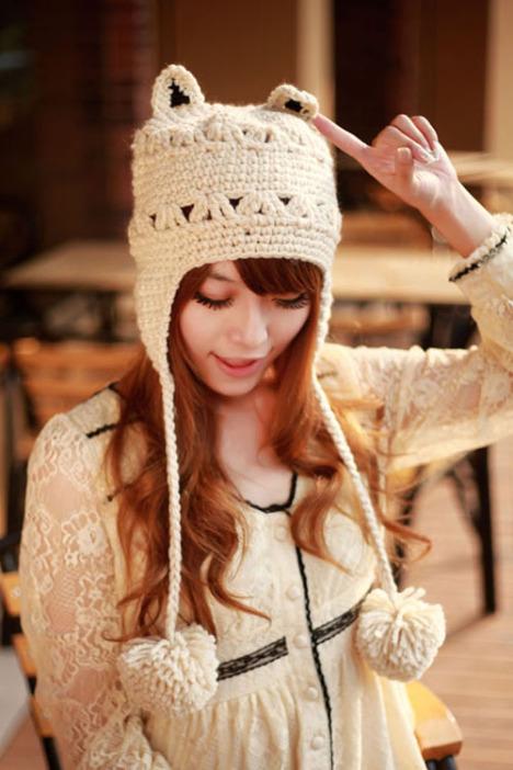 韩系可爱猫耳朵毛线帽子