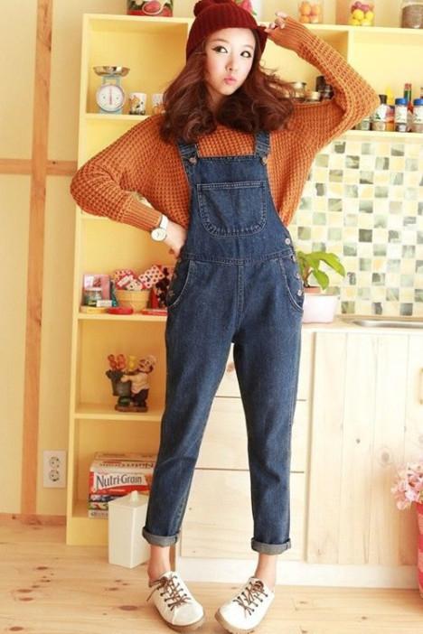 连体裤,背带裤,牛仔裤,蓝色,韩版