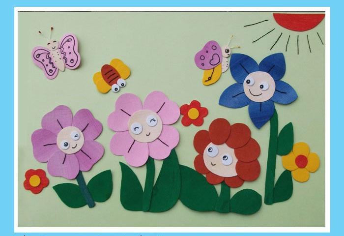 儿童卡通布贴画拼布画diy材料包——祖国的花朵