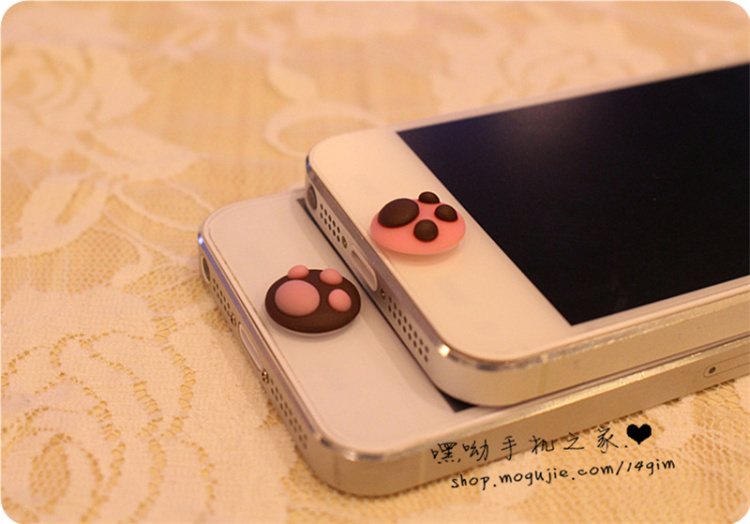 【苹果三星手机立体猫爪按键贴】-配饰-配饰