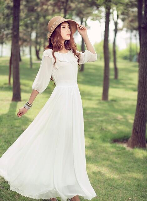 优雅纯净荷叶领拖地长裙