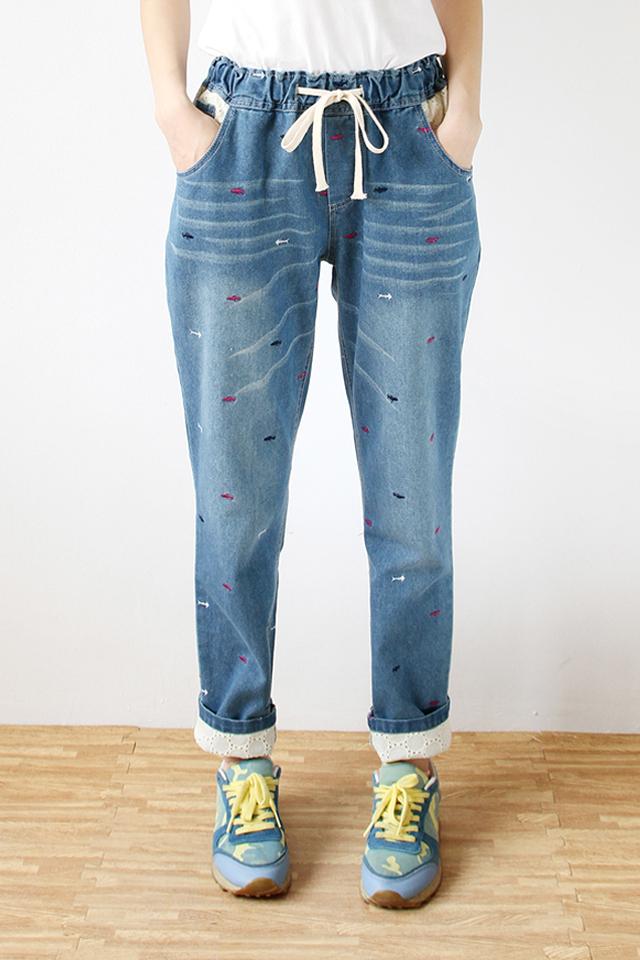 【翻边刺绣牛仔裤】-衣服-裤子