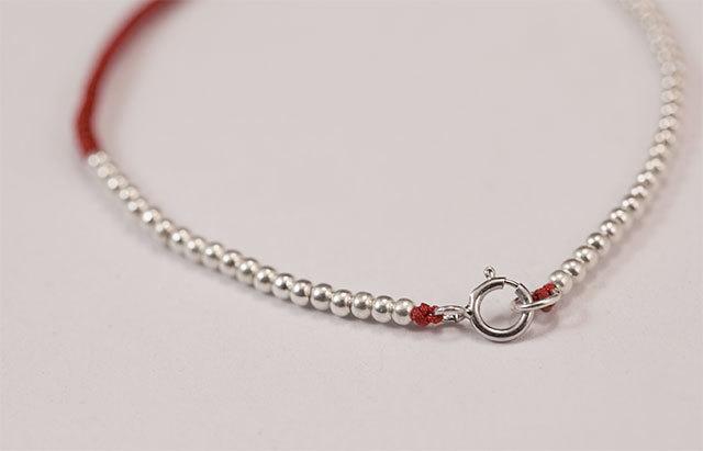 925纯银手工串珠红绳圆珠手链