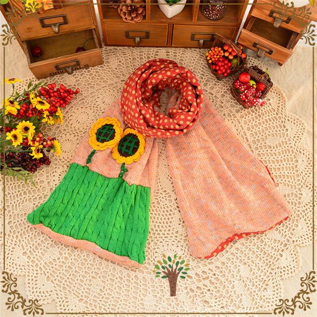 手工森林系向日葵围巾