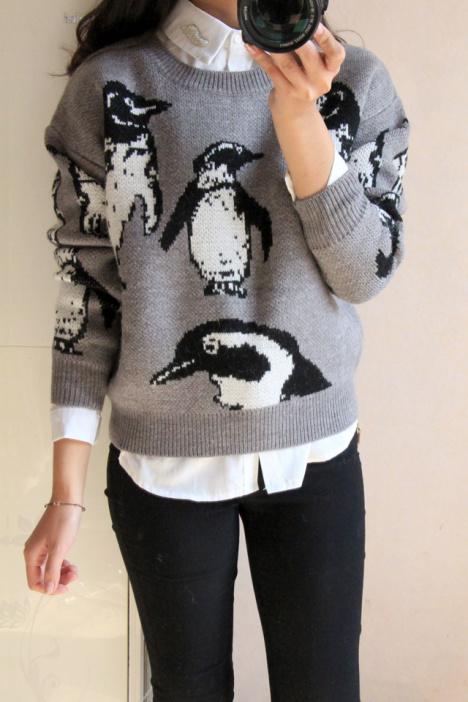 【橙子店韩国企鹅图案提花针织毛衣】-衣服-服饰鞋包