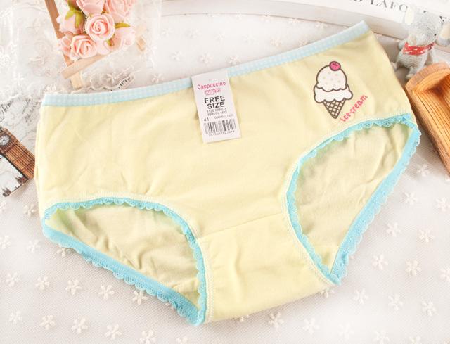 【可爱小甜筒女士撞色低腰棉质内裤】-内衣-女士内衣