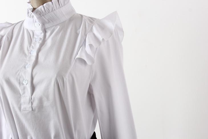 【木耳花边高领打底白衬衫】-衣服-服饰鞋包
