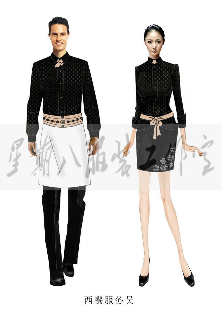 代画服装设计图,酒店职业装员工制服效果图,制版打样,加工制作