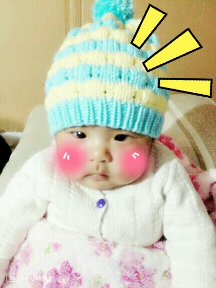 萌萌哒可爱小菠萝儿童球球毛线帽子 纯手工编织 多色多码可选