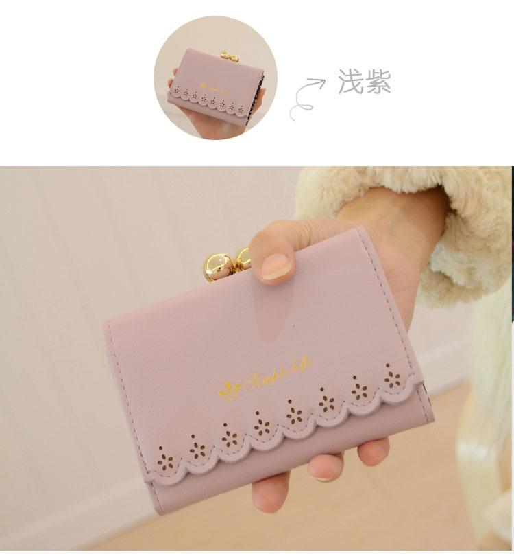 【粉色花边短款钱包】-包包-女包