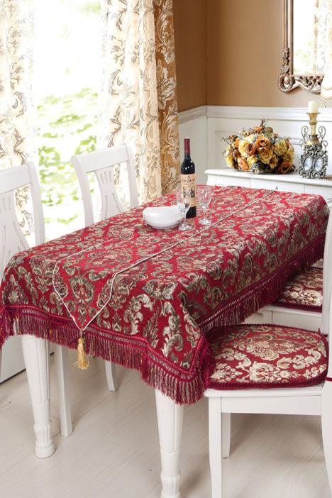 欧式雪尼尔餐桌布桌旗坐垫图片