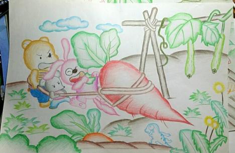 小白兔拔萝卜简笔画