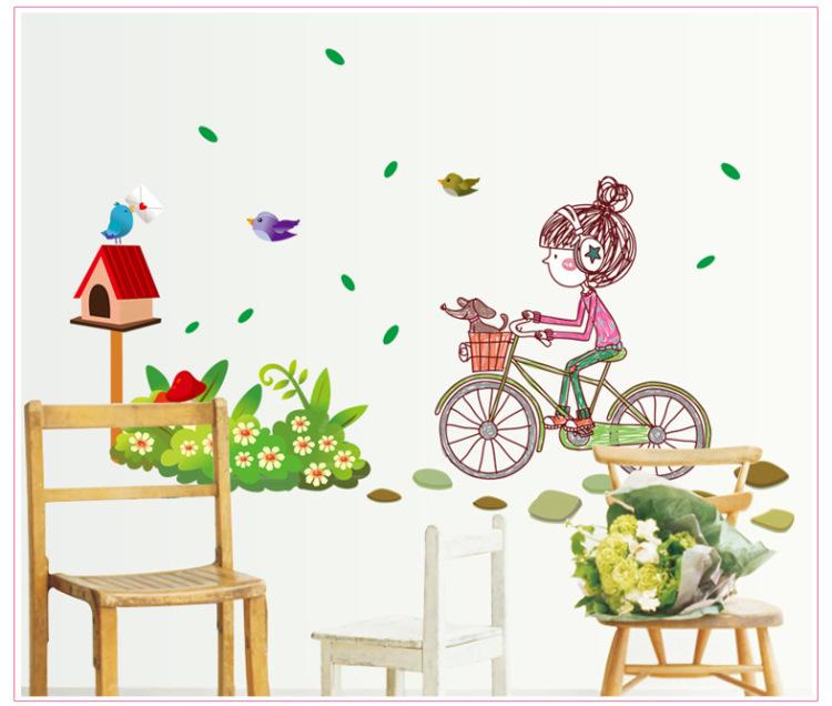 【自行车女孩儿童卧室背景墙贴】-家居-贴饰