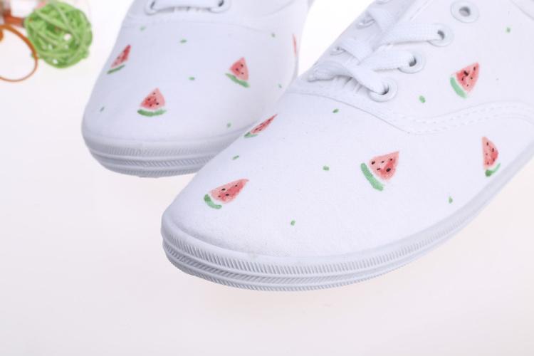 小清新风格 手绘西瓜帆布鞋