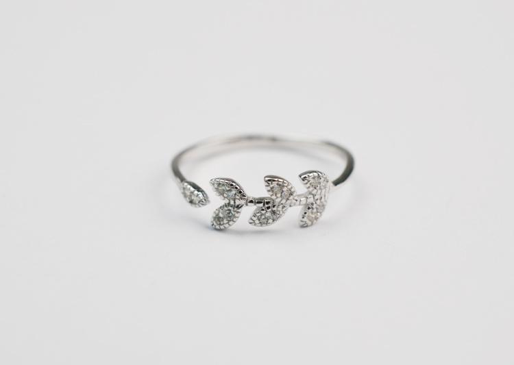 925纯银创意树叶戒指