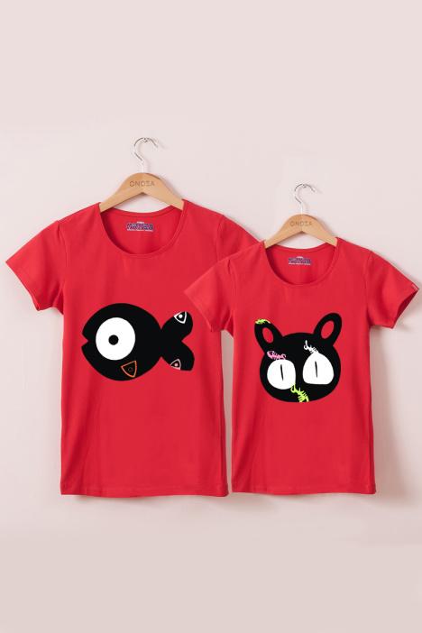 【可爱猫和鱼情侣装卡通短袖t恤】-无类目-裙子