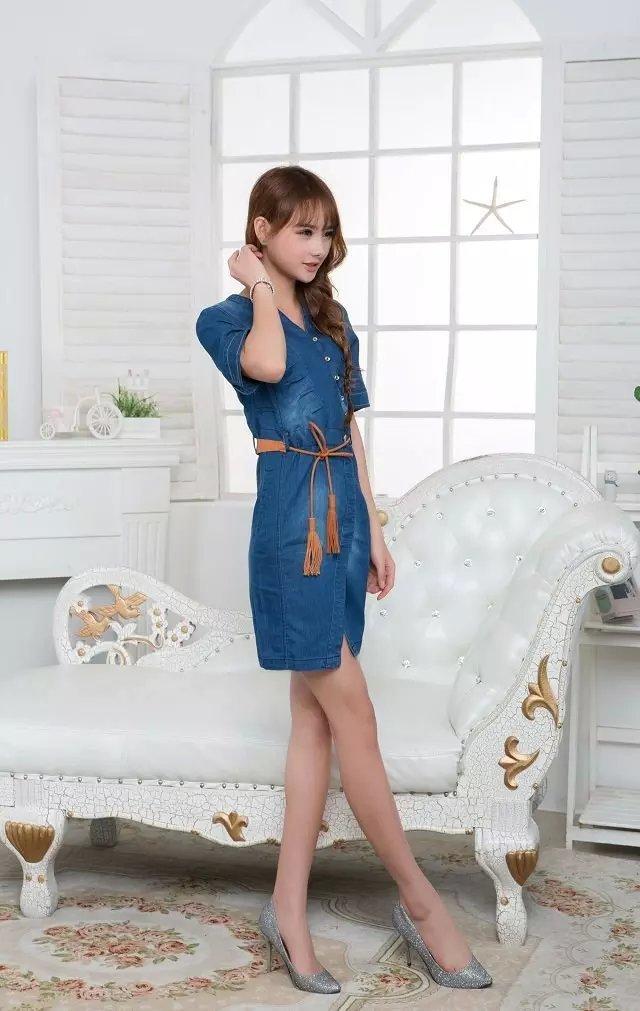 爱丽丝 韩版修身牛仔连衣裙
