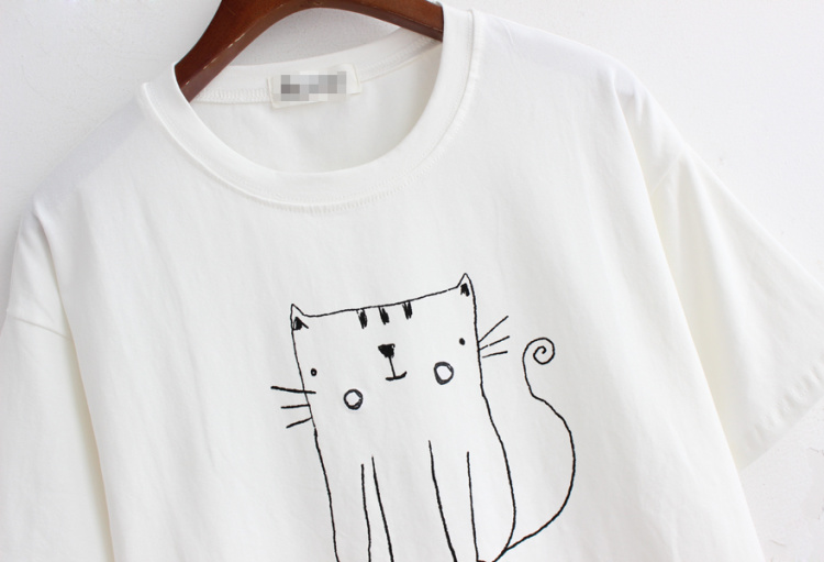 【简笔画小猫咪字母短袖t恤】-衣服-服饰鞋包