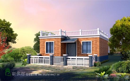 平屋顶晒台一层农村房屋设计图