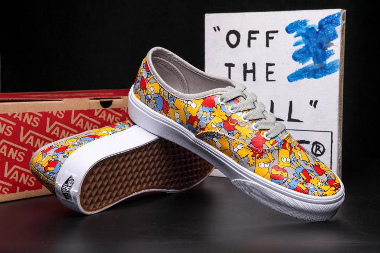 万斯辛普森卡通头像涂鸦帆布鞋