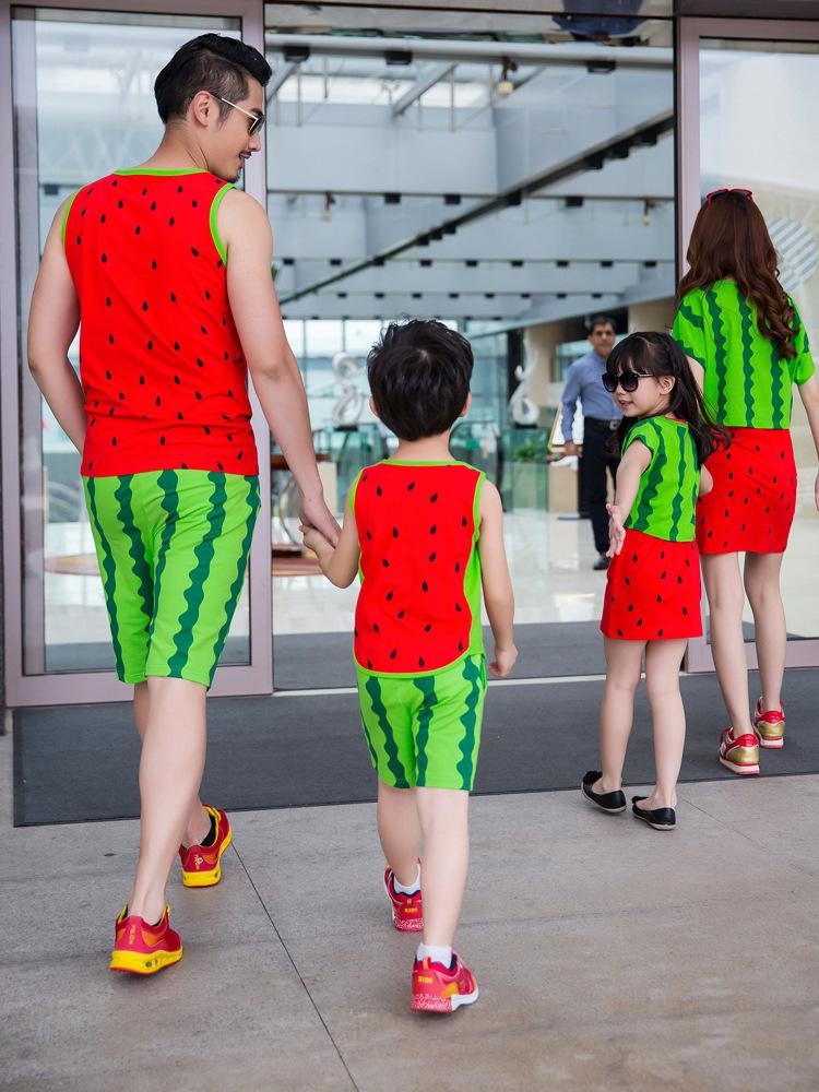 西瓜图案特色家庭亲子套装图片