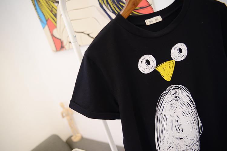 【欧美风简洁款素描企鹅图案t恤】-衣服-服饰鞋包