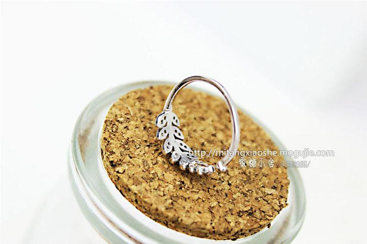 925纯银 树叶锆石戒指