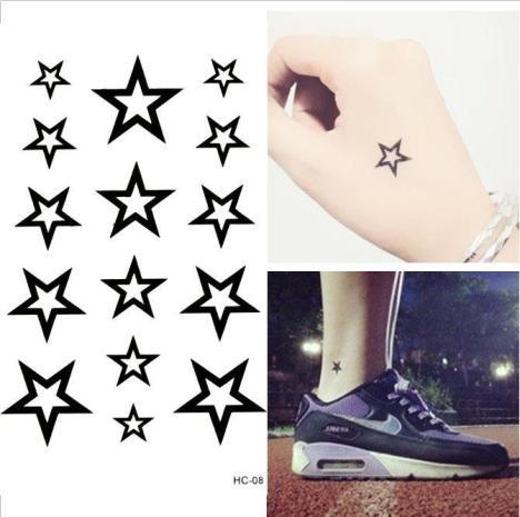 双手虎口简单小星星纹身_纹身图案图片