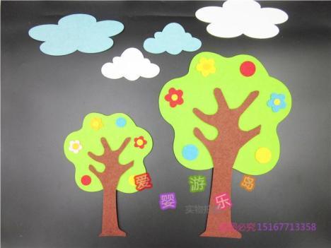 幼儿园教室环境板报布置装饰材料 无纺布3d墙贴画 花树绿树苹果树
