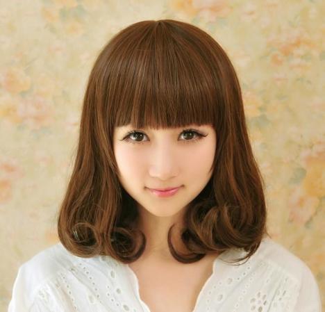 可爱假发女中长卷发梨花头齐刘海黑色深浅棕色自然逼真假头发