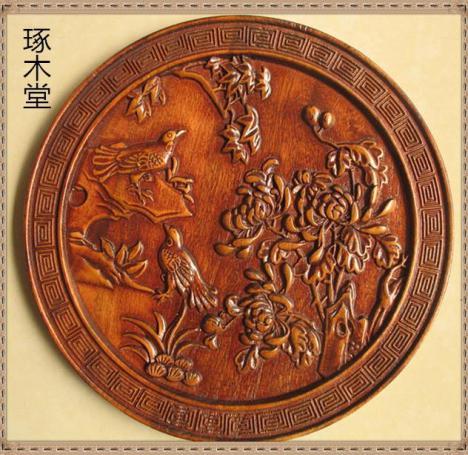 【东阳琢木堂木雕圆形浮雕喜鹊梅花】-无类目--lucky