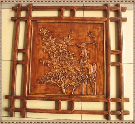 琢木堂木雕 方形双框浮雕花开富贵仿古香樟木装饰壁挂 80*80*2.