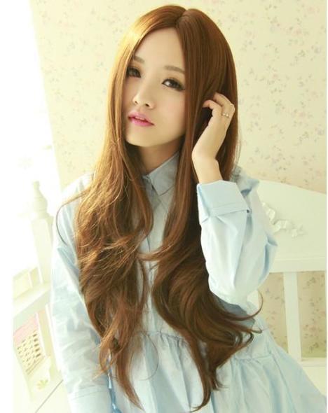 【非主流时尚假发女生长发大波浪仿真头皮中分刘海长图片图片