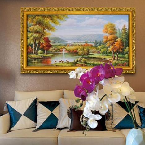 【欧式山水风景油画客厅沙发背景墙】-无类目--佳美