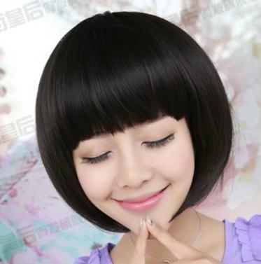 可爱假头发女生短直发平刘海学生bobo头黑色深棕色假发妹妹头逼真图片