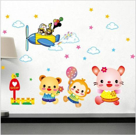 卡通动物飞行员墙贴 儿童房幼儿园装饰墙贴纸 可移除 包邮