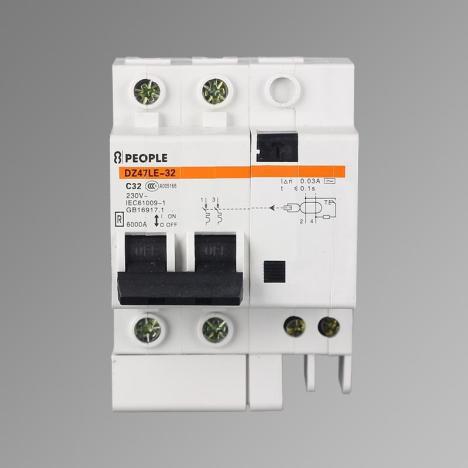 人民电器家用空气开关漏电保护器小型断路器 2p单相 32a特价批发
