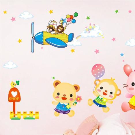 动物运动会墙贴幼儿园装饰墙纸森林动物运动会卡通贴
