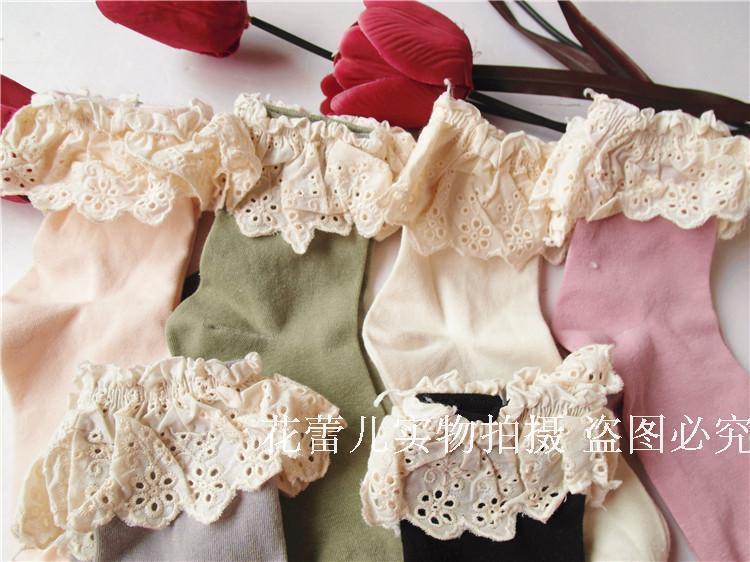 复古花边蕾丝清新可爱棉堆堆袜女袜子