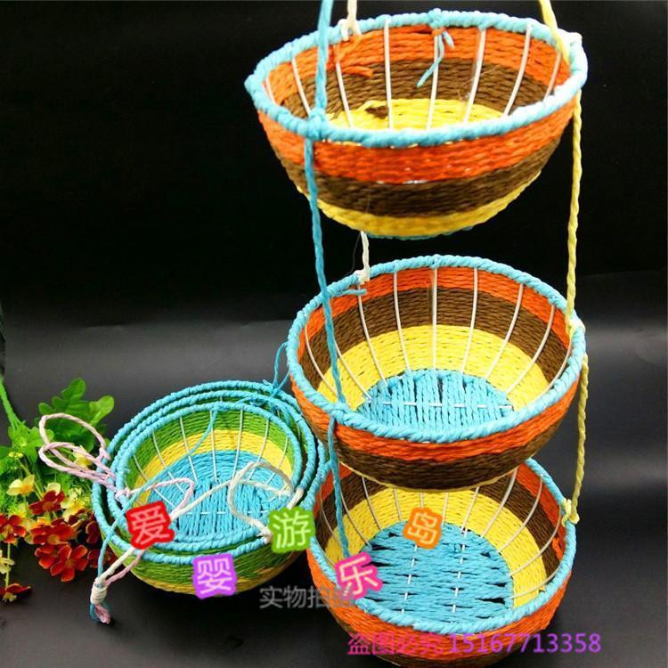 幼儿园室内外走廊布置纸绳篮子挂饰节日空中吊饰三层大小花篮挂件