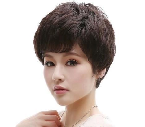 妈妈短卷发假发蓬松中分刘海黑色深棕浅棕色潮流时尚