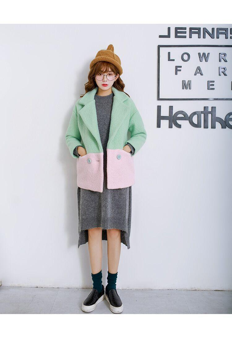 实拍2015冬装新款女装韩国学院风毛呢外套女拼色短款呢子大衣女图片