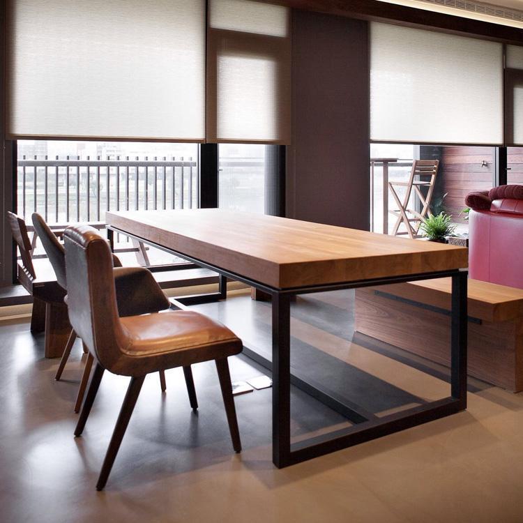 实木会议桌办公桌 现代简约铁艺欧式餐厅餐桌